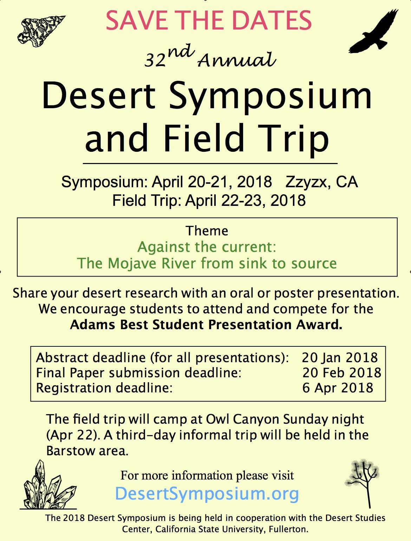 Desert Symposium Homepage: Information, Dates, Location, Field Trip,